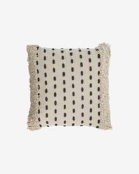 Agripa 100% cotton cushion cover in natural tone and black 45 x 45 cm