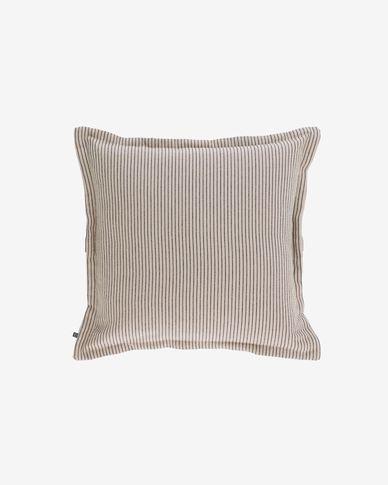 Housse de coussin Aleria coton rayures marron et beige 45 x 45 cm