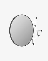 Espelho com cabides Vianela 70 x 51 cm preto