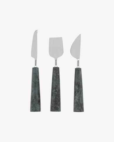 Bluma set of cheese knives in green marble
