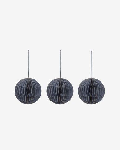 Decoratieve ballen Uriel set van 3 hangend in blauw