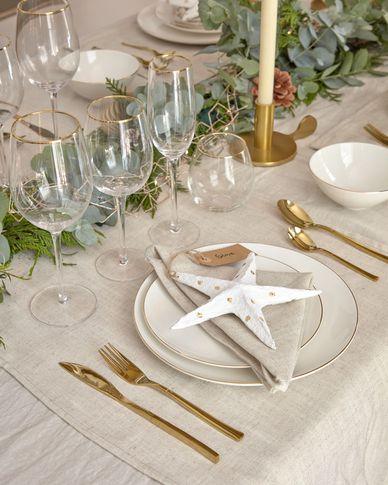 Decoratieve ster Victorina klein in wit en gouden stippen