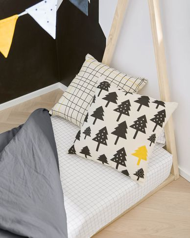 Saori 100% organic cotton (GOTS) small trees cushion cover in black 45 x 45 cm