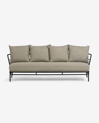 Mareluz three-seater black steel sofa 197 cm