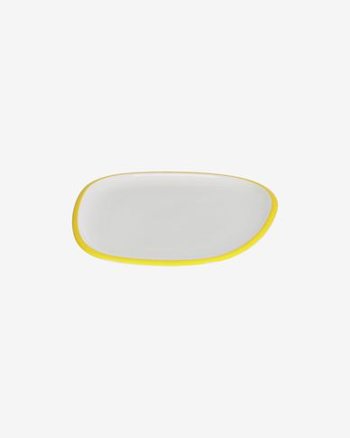 Odalin porcelain dessert plate in yellow and white