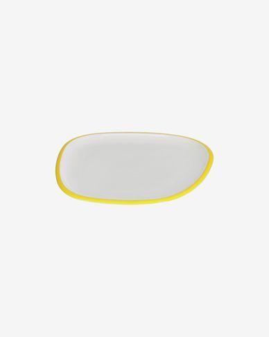 Piatto da dessert Odalin in porcellana bianca e gialla