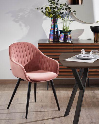 Fabia pink velvet chair