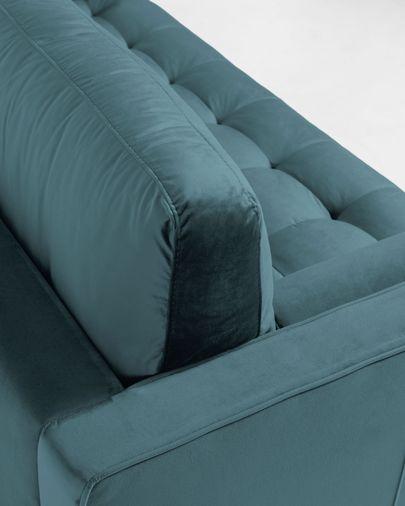 Sofá Debra 2 lugares com repousa-pés veludo turquesa 182 cm