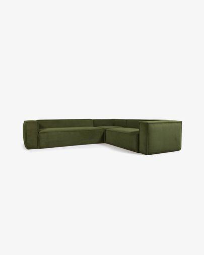Blok 5-seater corner sofa in green thick corduroy 320 x 290 cm