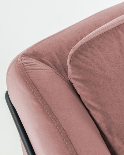 Sofà Brida 2 places vellut rosa 128 cm