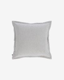 Aleria cotton cushion cover with grey and white stripes 45 x 45 cm