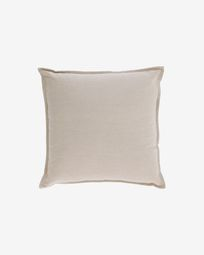 Achebe cotton and linen cushion cover in beige 45 x 45 cm