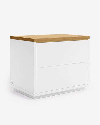 Abilen oak veneer and white lacquer bedside table 53,4 x 44 cm