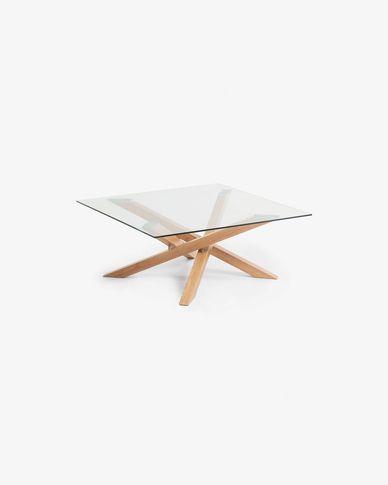 Tavolino da caffè Kamido 90 x 90 cm piano vetro gambe metallo rifinite legno