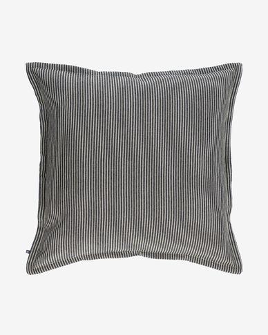 Funda cojín Aleria algodón rayas blanco y gris 60 x 60 cm