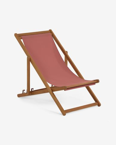 Adredna solid acacia outdoor deck chair in terracotta