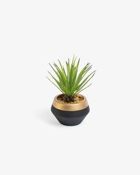 Artificial small Palm in black and gold ceramic pot