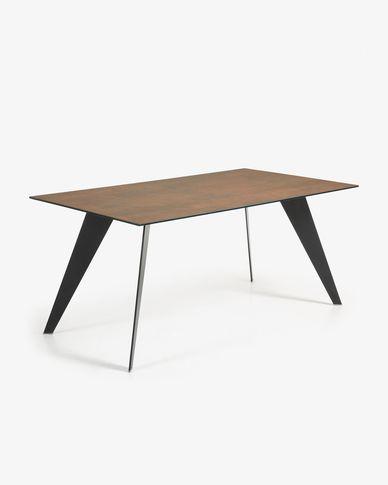 Tavolo Koda 180 cm porcellanato finitura Iron Corten gambe nero