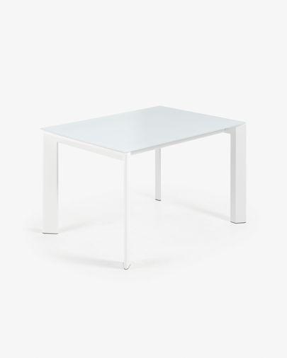 Tavolo allungabile Axis 120 (180) cm cristallo bianco gambe bianco