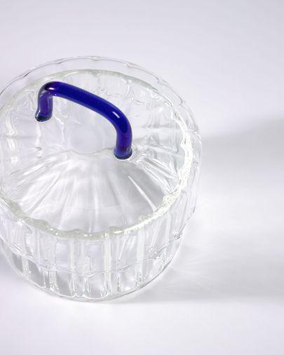 Pot Gretel van transparant en blauw glas