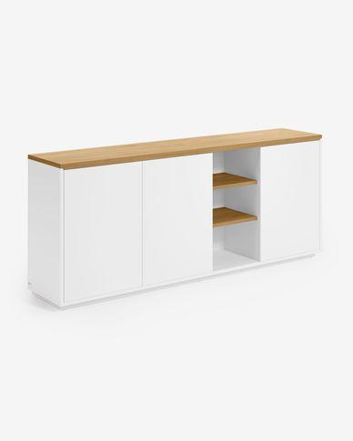 Abilen oak veneer and white lacquer sideboard 180 x 75 cm FSC 100%