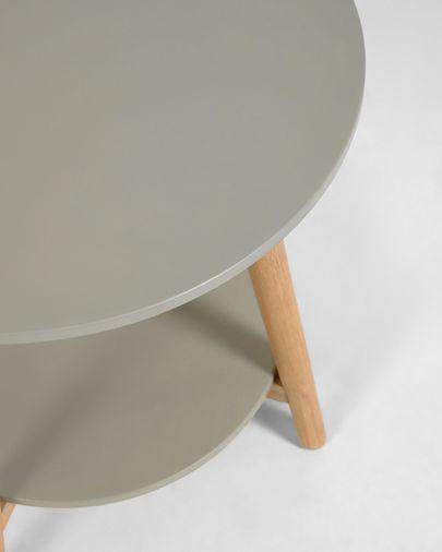 Mesa auxiliar redonda Nina polycemento y madera maciza eucalipto Ø 50 cm FSC 100%
