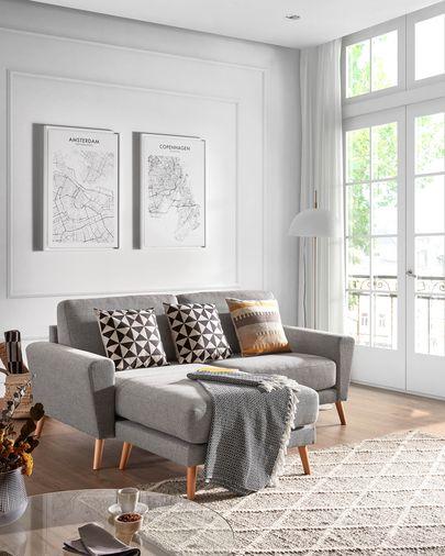 Light grey 3-seater Narnia chaise longue sofa 192 cm