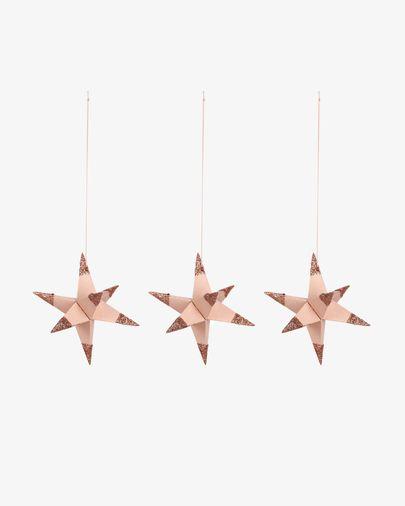 Set di 3 stelle decorative Belalia da appendere rosa