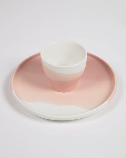 Taza de café Sayuri de porcelana rosa y blanco