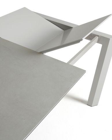 Extendable table Axis 160 (220) cm porcelain Hydra Lead finish gray legs