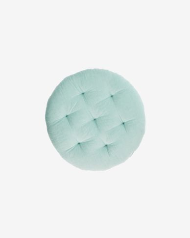 Etelvina floor cushion in turquoise 100% organic GOTS-certified cotton Ø 35 cm