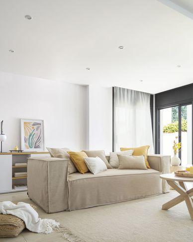 Sofa 3-osobowa Blok ze zdejmowanym pokryciem w beżowym płótnie