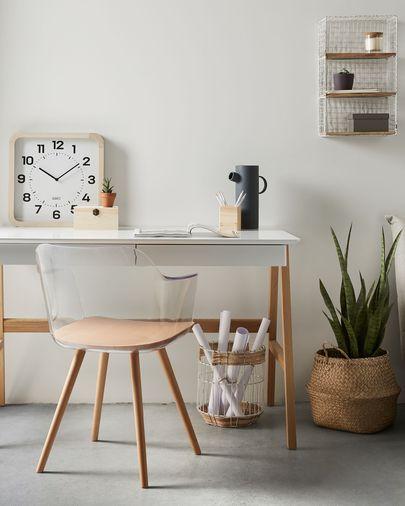 Estantería de pared Deland de madera maciza de abeto y acero con acabado blanco 30 x 50 cm
