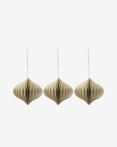 Decoratieve ballen Xilene set van 3 hangend in beige