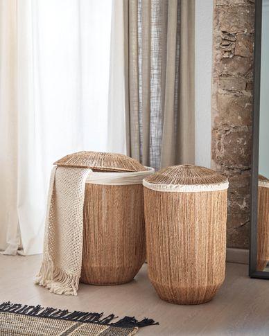Set Estibalis de 2 cestos de ropa redondos 100% yute con acabado natural