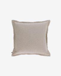 Poszewka na poduszkę Aleria bawełna w brązowo-beżowe paski 45 x 45 cm