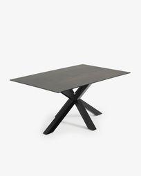 Mesa Argo 160 x 90 cm porcelánico Iron Moss patas de acero acabado negro