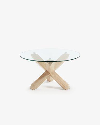 Tavolino da caffè Lotus Ø 65 cm piano vetro