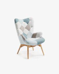 Kody armchair patchwork blue