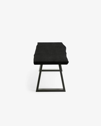 Alaia bench in solid black acacia wood with black steel legs 180 cm