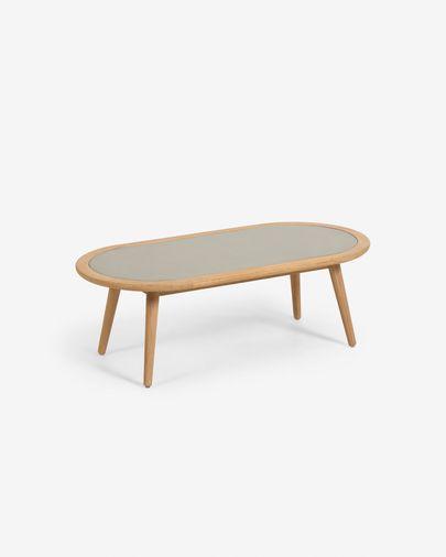 Table basse Nina en polyciment et bois massif d'eucalyptus Ø 120 x 60cm FSC 100%