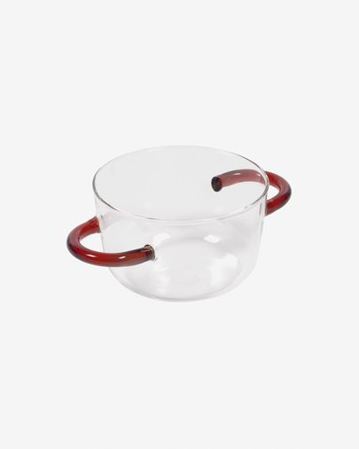 Dusnela transparent and orange glass bowl