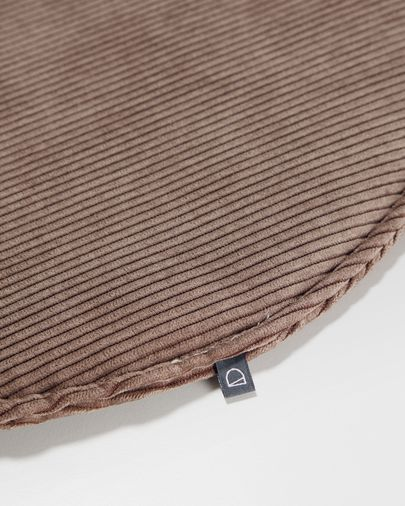 Coixí per a cadira rodó Sora pana marró Ø 35 cm