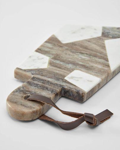 Taula de servir Vanina triangular de marbre blanc i gris
