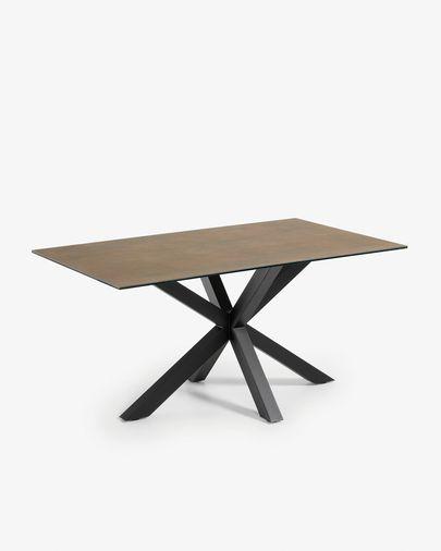 Argo Tisch 160 cm, Porzellan, Eisen Rost Finish, mit schwarzen Tischbeinen