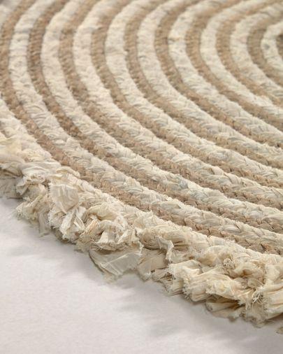 Tapete redondo Gisel de juta e algodão de Ø 120 cm
