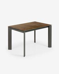Tavolo allungabile Axis 120 (180) cm porcellanato finitura Iron Corten gambe antracite