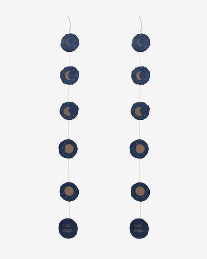 Astrea set van 2 kerstballen met maanfases op een blauwe en goudkleur
