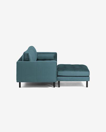 Canapé Debra 2 places avec repose-pieds en velours turquoise 182 cm