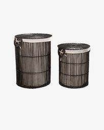 Fayna set of 2 laundry baskets in 100% rattan with black finish